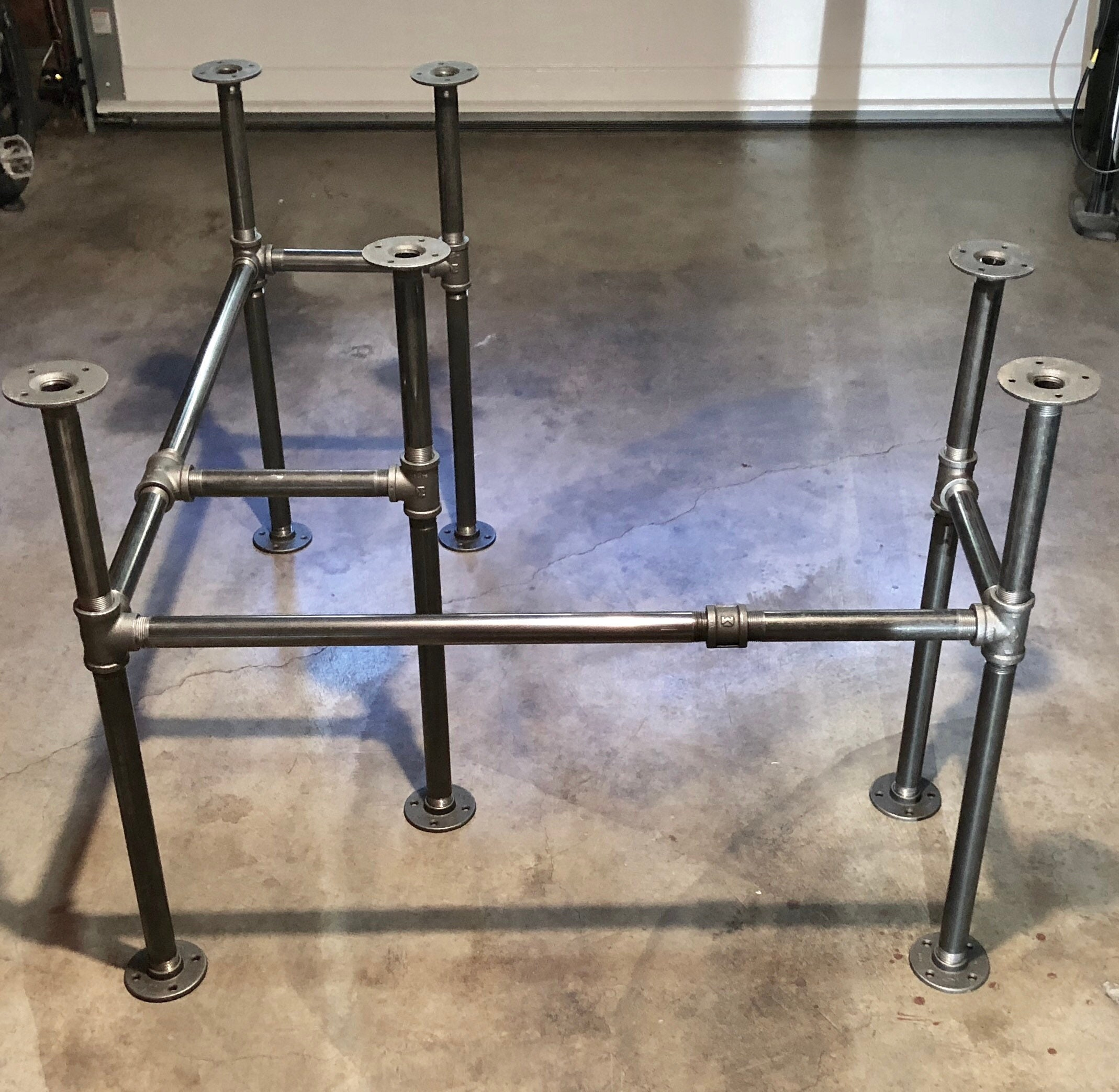 Diy Pipe Table: Industrial Black Pipe Desk Table Base DIY Parts