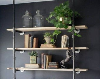 """Black Pipe Shelving, Open Wall Unit, Wall & Ceiling Mounted, Parts Kit """"DIY"""" - Choose Number of Shelves - 2, 3, 4, 5, 6 - HUGE SALE!!"""