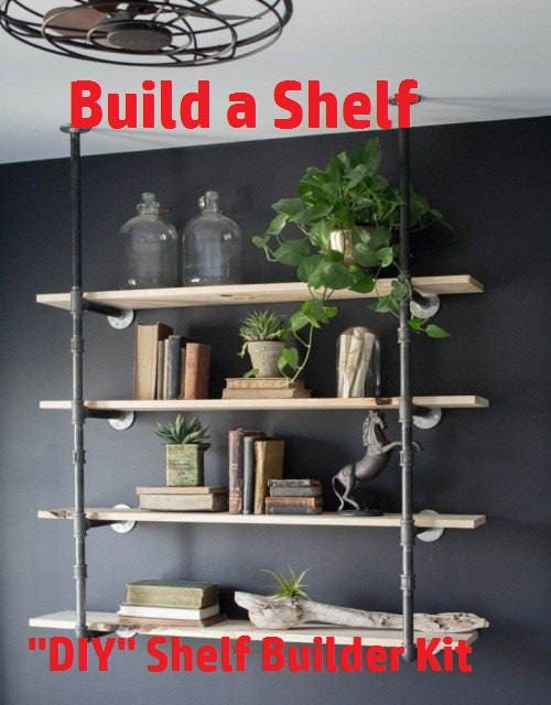 Black Pipe Shelving, Open Shelving Wall Unit, Wall & Ceiling Mounted ...