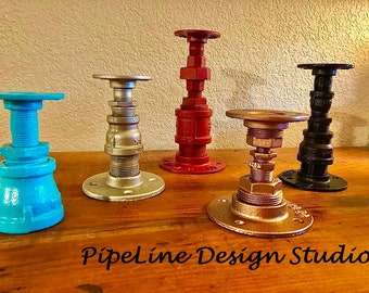 Black Pipe Candle Holders, Single Pillar Candle Holder - Perfect gift idea!