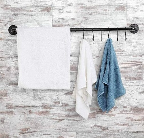 "Black Pipe Towel Bar, Towel Rack with Hooks- 34"" long x 3"" deep"