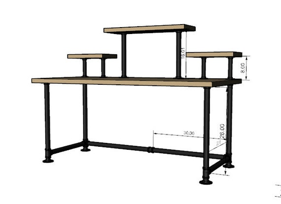 """Black Pipe Desk Base """"DIY"""" Parts Kit- 1"""" pipe x  68"""" long x 30"""" wide x 28"""" tall with Raised Shelving"""