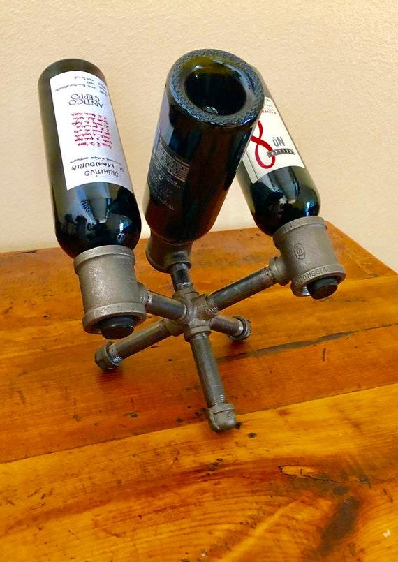 Industrial Black Pipe Wine Rack, Liquor Bottle Holder - Holds up to 3 Bottles