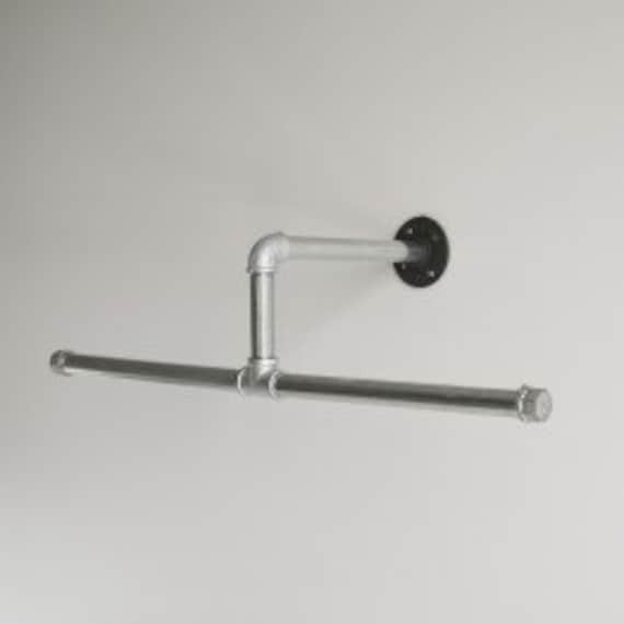 """Industrial Pipe Closet Hanger Rod, Industrial Pipe Towel/Clothing Rack - 20"""" Long, Silver pipe or Black pipe available"""