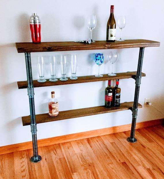 """Black Pipe Mini Bar, Shelf -1"""" Black Pipe-38"""" Tall, """"DIY"""" Parts Kit"""
