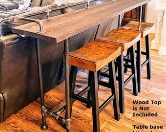 """Industrial Pipe Table Base & Drink Rail """"DIY"""" Parts Kits - 72"""" long x 16"""" wide x 30"""" or 36"""" tall"""