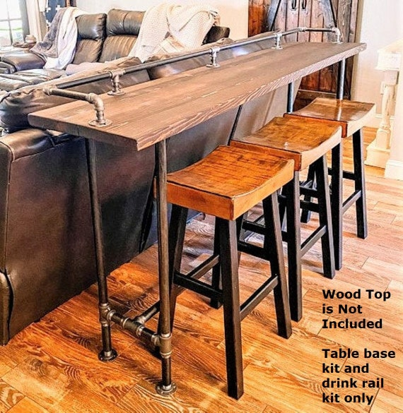"""Industrial Pipe Table Base & Drink Rail """"DIY"""" Parts Kits - 72"""" long x 16"""" wide x 40"""" tall"""