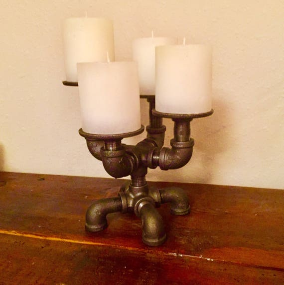 Industrial Pipe Candle Holder, holds 4 candles