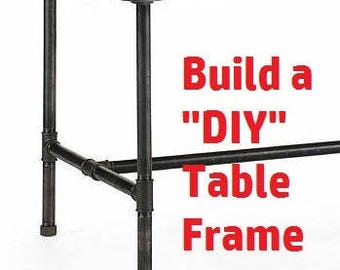 """Industrial Black Iron Pipe Table Base/Table Frame/ Table Legs - 1"""" Diameter Pipe X 54"""" Long - You choose Height & Width, Frame Kit"""
