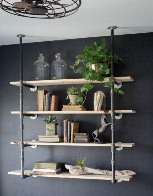 Black Pipe Wall Ceiling Mounted Bookshelf Parts Kit Diy Project 6