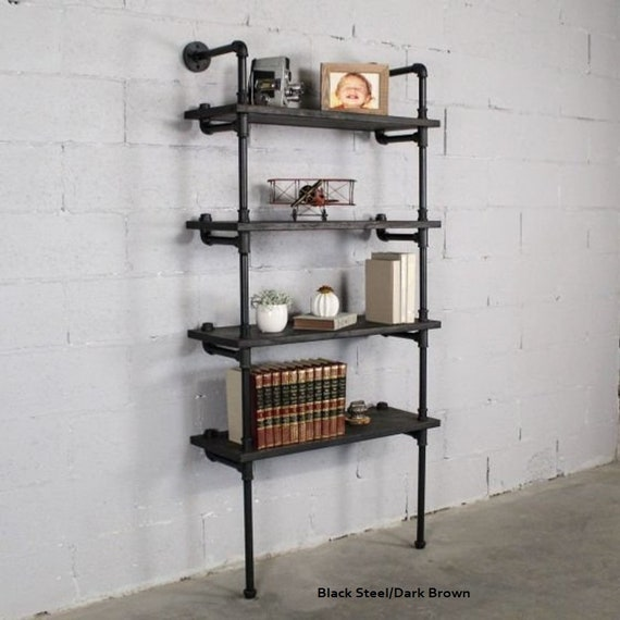 Industrial Chic 4 Tier Bookcase 67 Tall X 27 Wide X 12 Deep Includes Solid Wood Shelves And Metal Finish Pipes