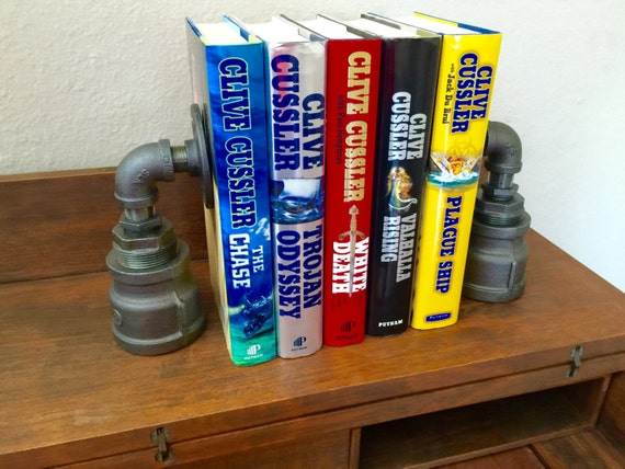 Industrial Black Pipe Bookends, Urban, Loft, Steampunk Style, 1 PAIR (2 Bookends)