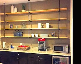 """Kitchen Pipe Shelving, Wall & Ceiling (or floor) Mounted,Parts Kit """"DIY"""" Replace Cabinets with this Unique Trendy Industrial look"""