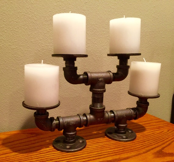 Candleabra, Industrial Black Pipe, Holds up to 4 Candles