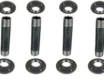 "Industrial Black Iron Pipe Table Legs , INCLUDES 4 Complete Table Legs 1 1/2"" Diameter 30""  ""DIY"" KIT"