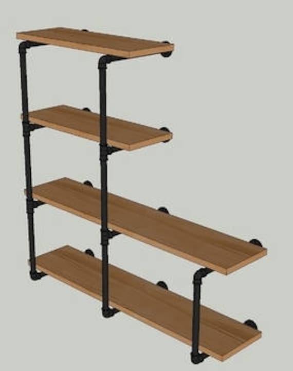 """Black Pipe Shelving Wall Unit, 42"""" tall, 4 Shelves """"DIY"""" Parts Kit, Shelf Depth Options-4"""", 5"""", 6"""", 7"""", 8"""", 9"""", 10"""", 11"""", 12"""", 14"""", 16"""", 18"""""""