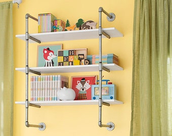 """Open Bookshelf, Wall Mounted Bookshelf, Galvanized Pipe- Parts Kit for """"DIY"""" Project, Easy to Assemble, 5 Shelves"""