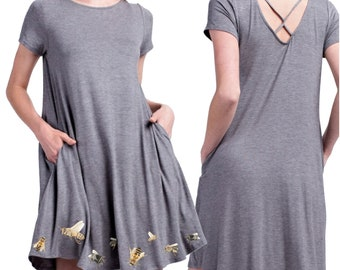 comfy Bamboo Loungewear Dress with Pockets and little bees Soft