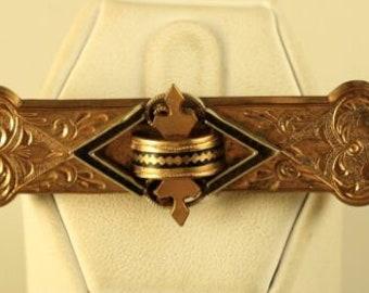 c1860s SALE Antique Etruscan Revival Gold Filled Neopolitan Fisher Boy Hand Painted Porcelain Brooch Bar Pin