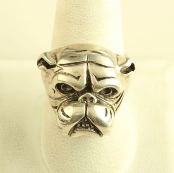 Vintage Sterling Silver Bulldog Ring