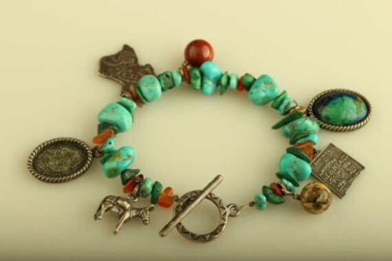 Vintage sterling silver multi beads turquoise carn