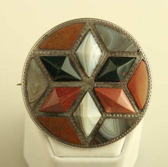 Victorian Silver Scottish Jewelry Antique Round Ag