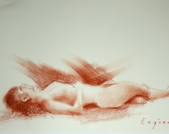 feminine figure Sanguine drawing on paper Expressive and dynamic.