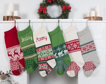 Knit Christmas Stockings Red Green White with personalization Intarsia Fair Isle Nordic Modern Christmas Stocking Decor for Holidays