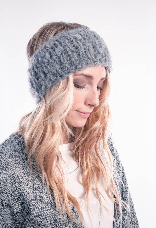 Grey warm headband Ear warmer Headband Head wrap Soft  62742bc161f