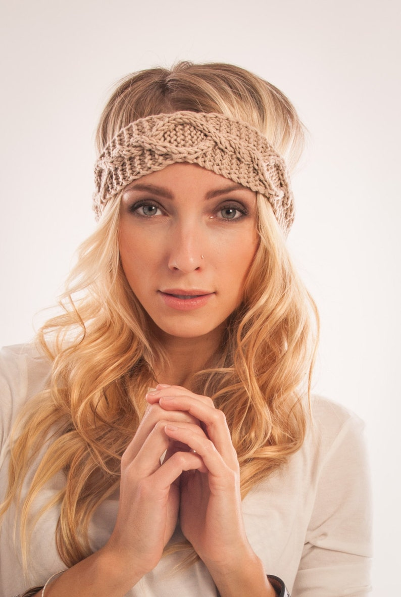 Cable knitted Head wrap Bohemian winter Headband Knit Ear warmer headband Cute winter accessory Gift for sister Stocking stuffer