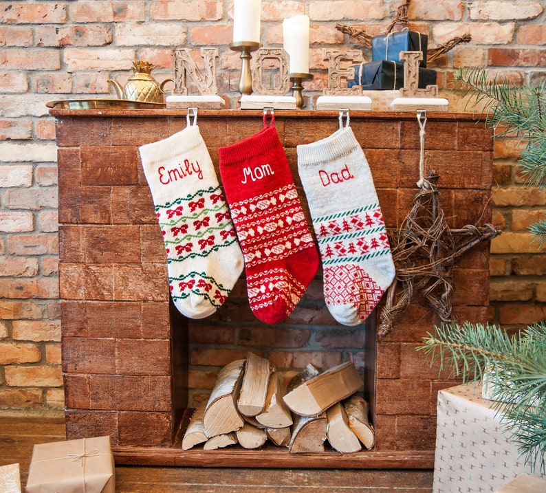 Christmas Sale Personalized Christmas Stockings Green Red White Knit Family Christmas Stockings With Handmade Embroidery Holiday Stocking