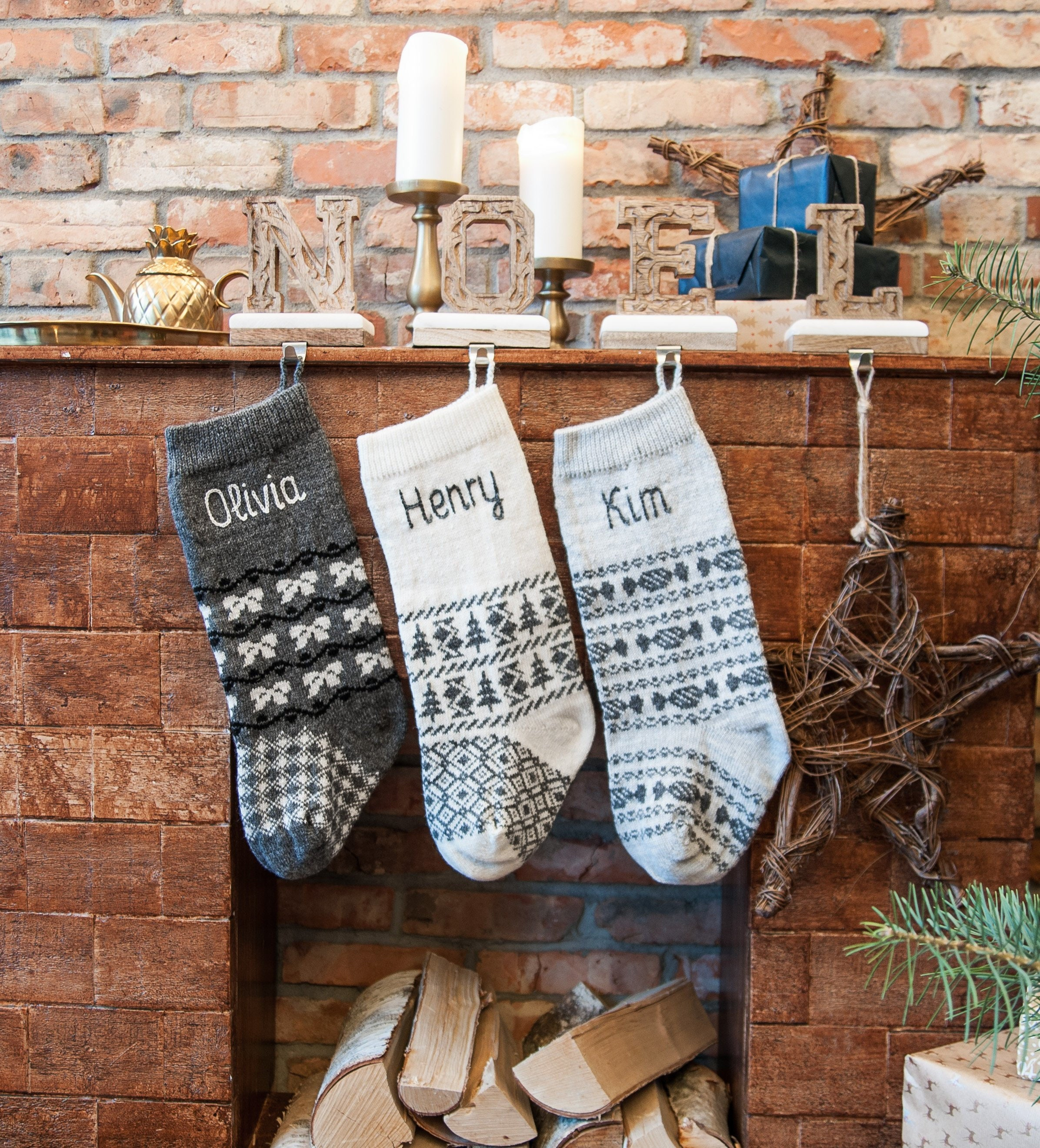 Personalized Christmas Stockings, Family Grey Knitted Scandinavian ...