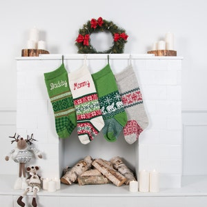 personalized christmas stockings green red white knitted christmas stockings with handmade embroidery holiday stocking knit stockings - White Knit Christmas Stockings