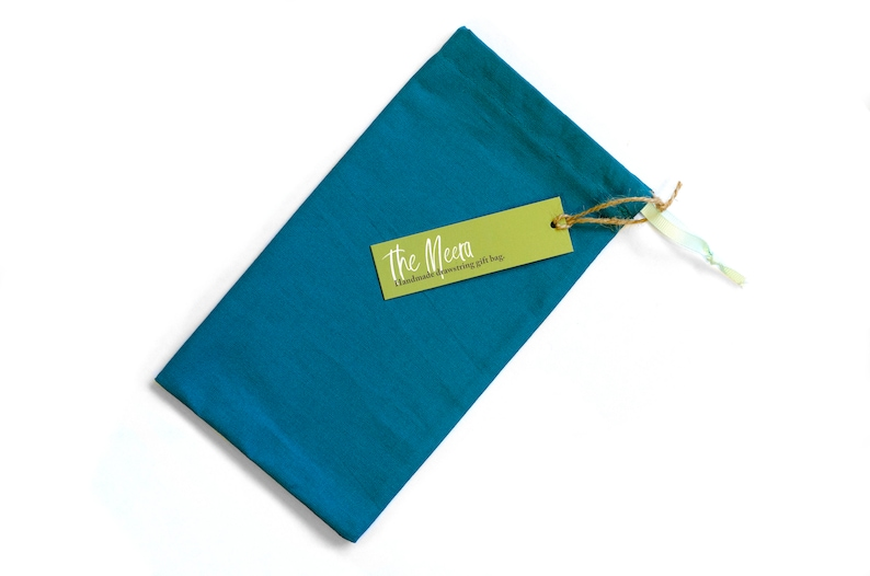 handmade cotton draw-string gift bags with ribbon pull for posh presents Zero waste and plastic free. Gift bags