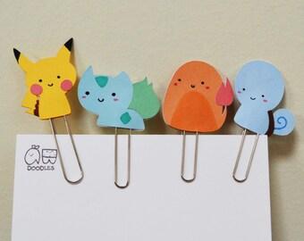 pokemon paper clips - pikachu, charmander, bulbasaur, squirtle - handmade cute paper clip - planner accessories