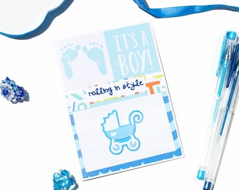 rolling in style - it's a boy - handmade punny card - expecting baby - greeting card - baby boy - stroller