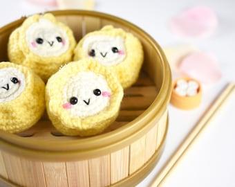 siumai cute dimsum with ball clasp keychain - made to order - handmade crochet - amigurumi - wontoninamillion - stuffed doll