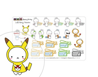 Pokemon Go stickers - Lolli Bunny - pokemon trainer - pokemon raid - planner accessories - handmade - printed and cut