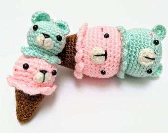 cute ice cream cone bear - handmade crochet - amigurumi - plush - toy
