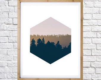 Hexagon and forest poster, black and white photo, digital print, printable art, home decor, instant download,