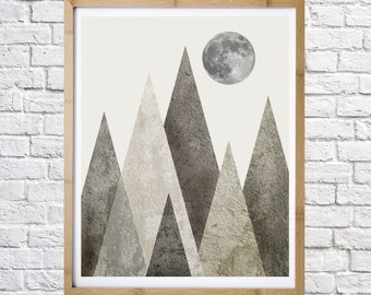 Triangles Mountain and Moon, Digital print, Instant download, Wall decor, Modern design, Lanscape