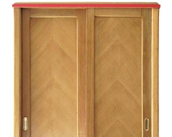 """Varnished oak veneer cabinet with sliding doors """"Juliette"""" - vintage 50s"""