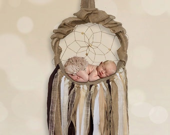 Digital Backdrop/prop - Burlap dreamcatcher newborn cradle