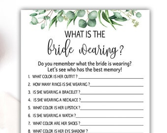 what was the bride wearing bachelorette party eucalyptus wedding shower games greenery bridal shower games bridal shower ideas fun g04