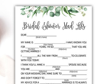 bridal shower mad libs bridal mad libs mad lib bride advice mad libs wedding greenery bridal shower games eucalyptus green leaves g04