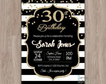 30th Birthday Invitation Invites 40th 50th 60th For Her Female Woman