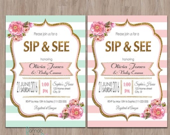 chalkboard sip and see invitation meet the baby invitation etsy