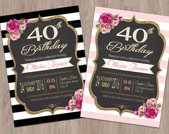 40th Birthday Invitation Women For Invite Invitations Party