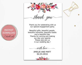 Thank You Cards Printable Thank You Card Download Baby Etsy