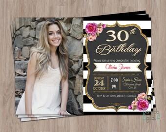 30th Birthday Invitation For Women Her Invite Photo Female